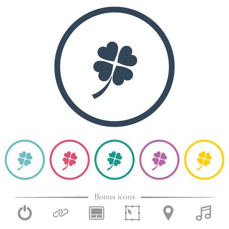Icônes de couleur plate de trèfle à quatre feuilles dans les contours ronds. 6 icônes bonus incluses.