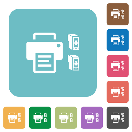 Printer and ink cartridges white flat icons on color rounded square backgrounds