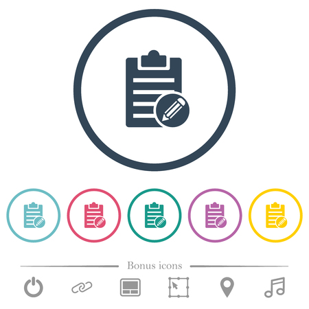 Edit note flat color icons in round outlines. 6 bonus icons included.