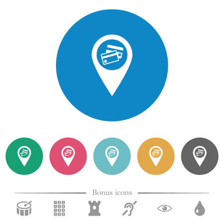 Credit card acceptance GPS map location flat white icons on round color backgrounds. 6 bonus icons included.
