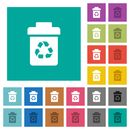 Recycle bin multi colored flat icons on plain square backgrounds. Included white and darker icon variations for hover or active effects.