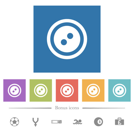 Dress button with 2 holes flat white icons in square backgrounds. 6 bonus icons included. Иллюстрация