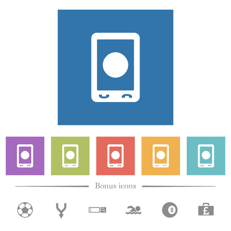 Mobile media record flat white icons in square backgrounds. 6 bonus icons included. Stok Fotoğraf - 125974399