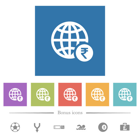 Online Rupee payment flat white icons in square backgrounds. 6 bonus icons included.