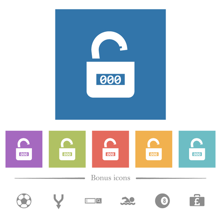 Unlocked combination lock with center numbers flat white icons in square backgrounds. 6 bonus icons included.