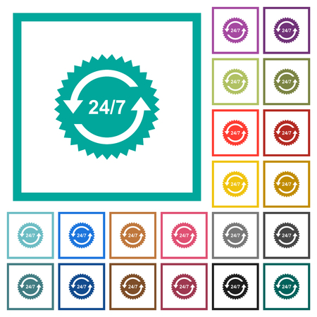 24 hours seven sticker with arrows flat color icons with quadrant frames on white background