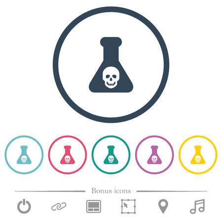 Dangerous chemical experiment flat color icons in round outlines. 6 bonus icons included.