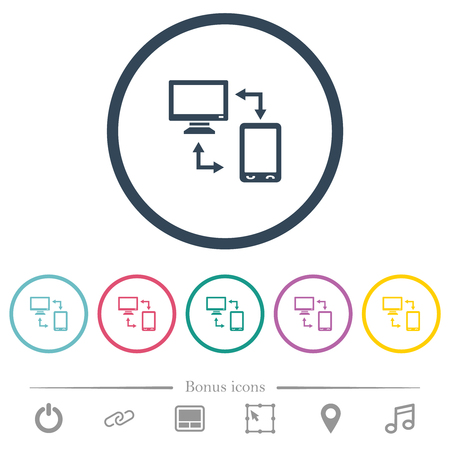Syncronize mobile with computer flat color icons in round outlines. 6 bonus icons included.