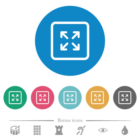Enlarge object flat white icons on round color backgrounds. 6 bonus icons included.