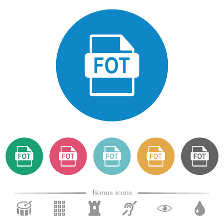 FOT file format flat white icons on round color backgrounds. 6 bonus icons included.