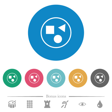 Grouping elements flat white icons on round color backgrounds. 6 bonus icons included.