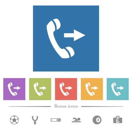Outgoing phone call flat white icons in square backgrounds. 6 bonus icons included.  イラスト・ベクター素材