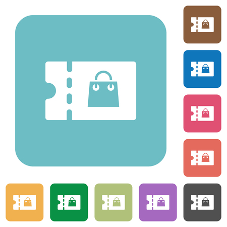 Bag discount coupon white flat icons on color rounded square backgrounds