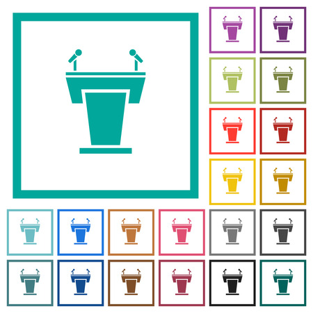 Conference podium with microphones flat color icons with quadrant frames on white background Ilustrace
