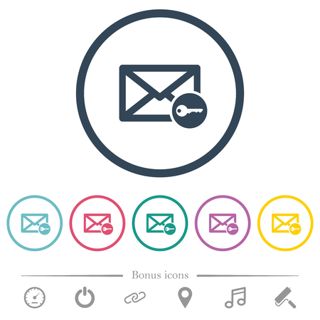 Secure mail flat color icons in round outlines. 6 bonus icons included.