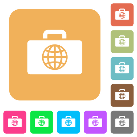 Travel bag flat icons on rounded square vivid color backgrounds. Illustration