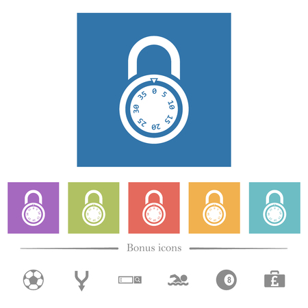 Locked round combination lock flat white icons in square backgrounds. 6 bonus icons included. Иллюстрация