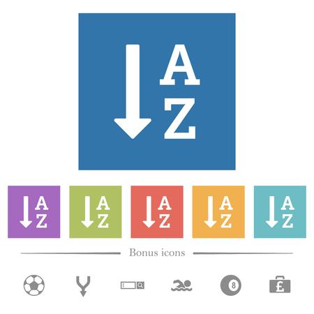 Lista ordenada alfabéticamente ascendente iconos planos blancos en fondos cuadrados. Se incluyen 6 iconos de bonificación.
