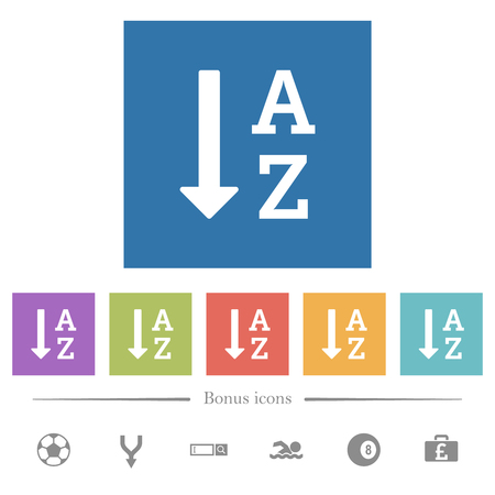 Liste triée par ordre alphabétique d'icônes blanches plates dans des arrière-plans carrés. 6 icônes bonus incluses.