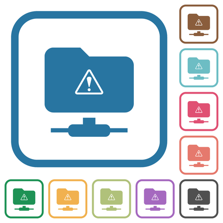 FTP warning simple icons in color rounded square frames on white background