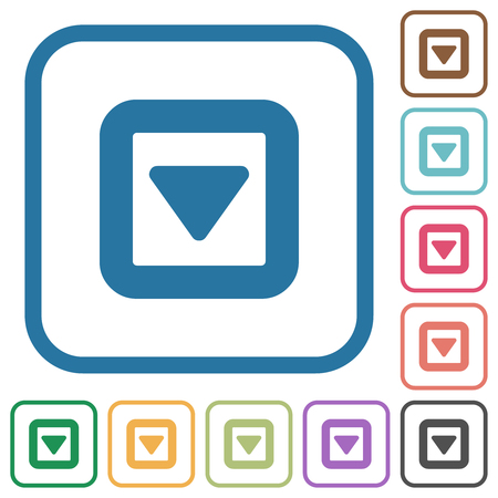 Toggle down simple icons in color rounded square frames on white background