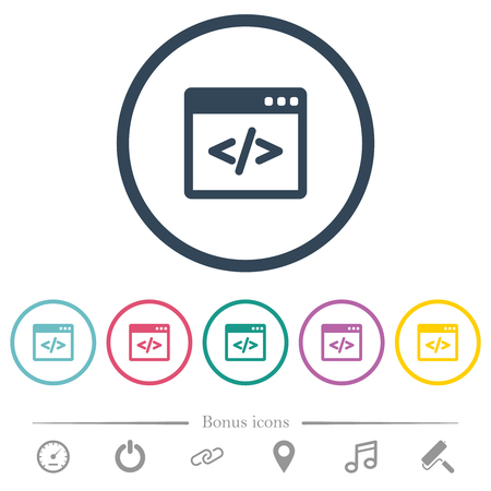 Programming code in software window flat color icons in round outlines. 6 bonus icons included.