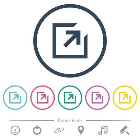 Export with inner arrow flat color icons in round outlines. 6 bonus icons included. Illustration