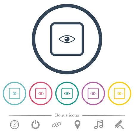 Vorschau der flachen Farbsymbole des Objekts in runden Umrissen. 6 Bonussymbole enthalten.