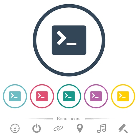 Command terminal flat color icons in round outlines. 6 bonus icons included. Illustration
