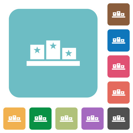 Winners podium with inside stars white flat icons on color rounded square backgrounds