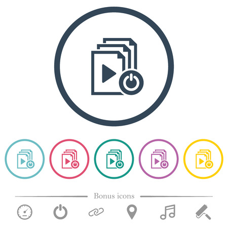 Exit from playlist flat color icons in round outlines. 6 bonus icons included. Illustration
