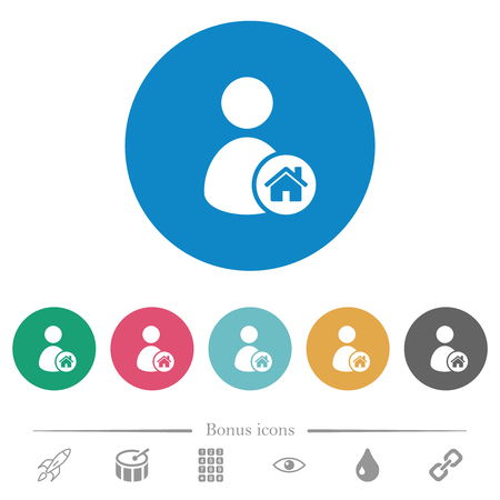 User home flat white icons on round color backgrounds. 6 bonus icons included. Banque d'images - 125788248