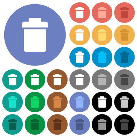 Single trash multi colored flat icons on round backgrounds. Included white, light and dark icon variations for hover and active status effects, and bonus shades. Illustration