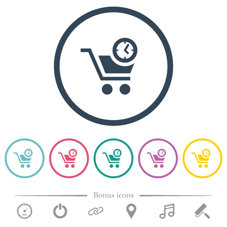 Instant purchase flat color icons in round outlines. 6 bonus icons included. Illustration