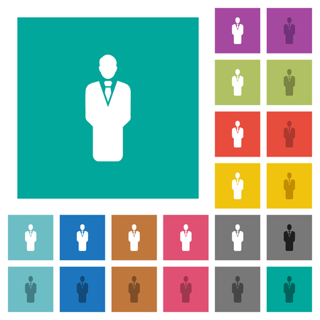 Businessman silhouette multi colored flat icons on plain square backgrounds. Included white and darker icon variations for hover or active effects. Çizim