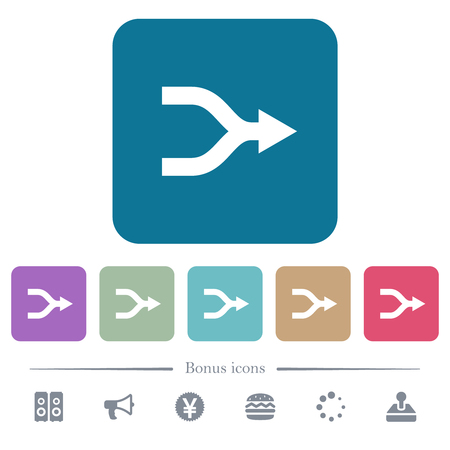 Merge arrows white flat icons on color rounded square backgrounds. 6 bonus icons included Illustration