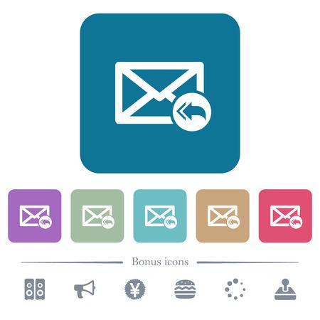 Responda por correo a todos los iconos planos blancos del destinatario sobre fondos cuadrados redondeados de color. 6 iconos de bonificación incluidos Ilustración de vector