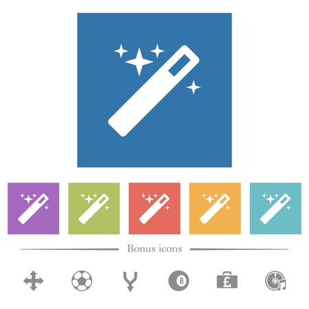 Magic wand flat white icons in square backgrounds. 6 bonus icons included.