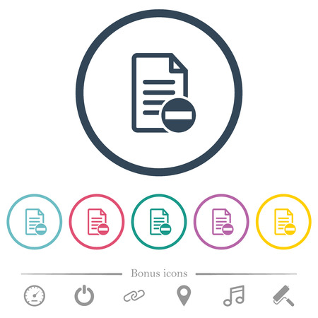 Remove document flat color icons in round outlines. 6 bonus icons included.