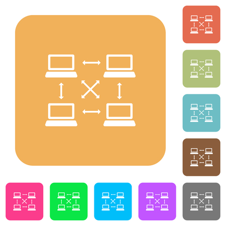 Content delivery network flat icons on rounded square vivid color backgrounds.
