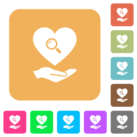 Dating service flat icons on rounded square vivid color backgrounds.