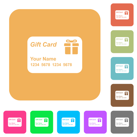 Gift card with name and numbers flat icons on rounded square vivid color backgrounds.