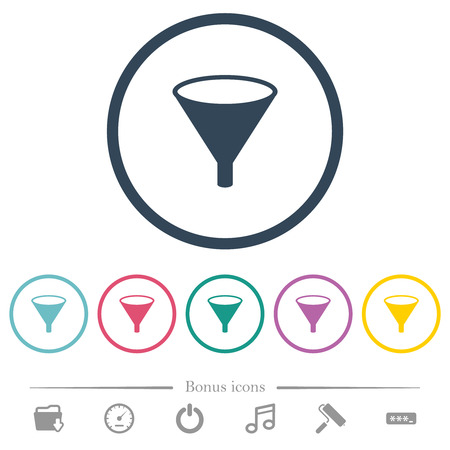 Funnel flat color icons in round outlines. 6 bonus icons included.