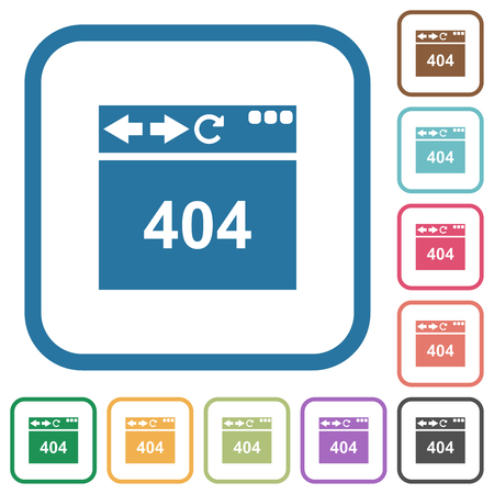 Browser 404 page not found simple icons in color rounded square frames on white background