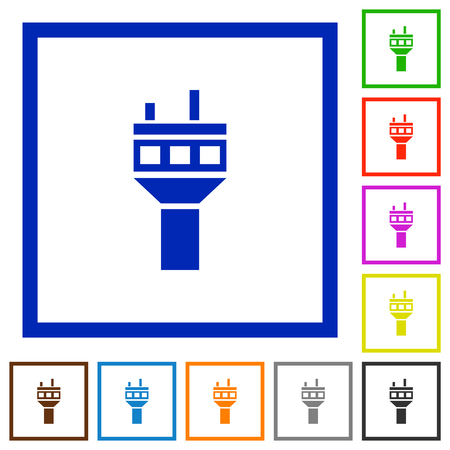Air control tower flat color icons in square frames on white background