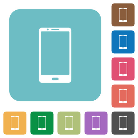 Modern mobile phone with one button white flat icons on color rounded square backgrounds