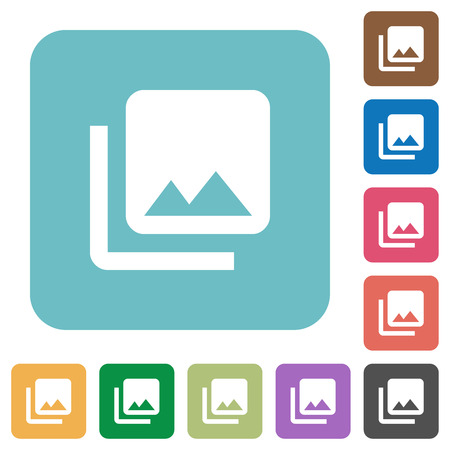 Photo library white flat icons on color rounded square backgrounds