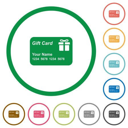 Gift card with name and numbers flat color icons in round outlines on white background Foto de archivo - 125645281