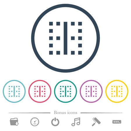 Vertical border flat color icons in round outlines. 6 bonus icons included.