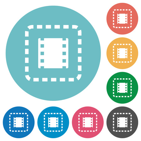 Place movie flat white icons on round color backgrounds Stock Illustratie